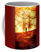 Man Standing In Front Of A Blazing Forest Fire Coffee Mug