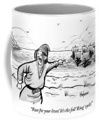 Man Standing On The Beach Screams As A Fleet Coffee Mug