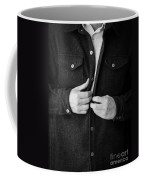 Man Unbuttoning His Shirt Coffee Mug by Edward Fielding