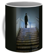 Man With Case At Night On Stairs Coffee Mug