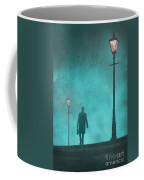 Man With Hat And Overcoat Carrying A Briefcase In Fog Coffee Mug