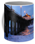 Manhattan Beach Pier Crashing Surf Coffee Mug