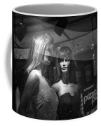Mannequins In Storefront Window Display With Pizza Sign Coffee Mug