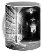 Man's Silhouette In Urban Tunnel Black And White Coffee Mug
