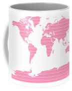 Map In Pink Stripes Coffee Mug