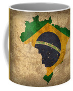 Map Of Brazil With Flag Art On Distressed Worn Canvas Coffee Mug