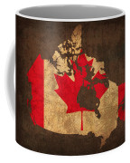 Map Of Canada With Flag Art On Distressed Worn Canvas Coffee Mug