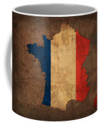 Map Of France With Flag Art On Distressed Worn Canvas Coffee Mug by Design Turnpike