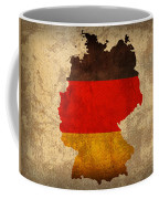 Map Of Germany With Flag Art On Distressed Worn Canvas Coffee Mug