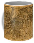 Map Of Kansas City Missouri Vintage Old Street Cartography On Worn Distressed Canvas Coffee Mug