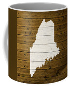 Map Of Maine State Outline White Distressed Paint On Reclaimed Wood Planks. Coffee Mug