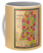 Map Of Mississippi 1850 Coffee Mug