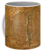 Map Of Paris France Circa 1550 On Worn Canvas Coffee Mug