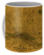 Map Of Portland Oregon City Street Schematic Cartography Circa 1924 On Worn Parchment  Coffee Mug