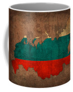 Map Of Russia With Flag Art On Distressed Worn Canvas Coffee Mug