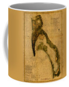 Map Of San Diego Bay California Circa 1857 On Worn Distressed Canvas Parchment Coffee Mug
