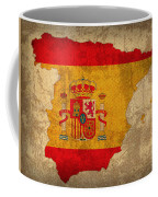 Map Of Spain With Flag Art On Distressed Worn Canvas Coffee Mug