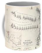 Map Of The Battle Of Trafalgar Coffee Mug by Alexander Keith Johnson