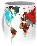 Map Of The World 5 -colorful Abstract Art Coffee Mug