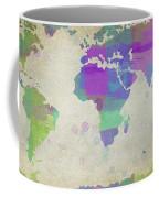 Map Of The World - Plaid Watercolor Splatter Coffee Mug