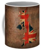 Map Of United Kingdom With Flag Art On Distressed Worn Canvas Coffee Mug
