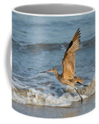 Marbled Godwit Taking Off On Beach Coffee Mug