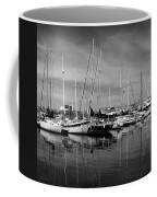 Marina Boats In Victoria British Columbia Black And White Coffee Mug