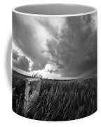 Marker - Black And White Photo Of Stone Marker And Brewing Storm In Kansas Coffee Mug