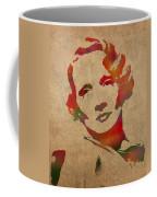 Marlene Dietrich Movie Star Watercolor Painting On Worn Canvas Coffee Mug