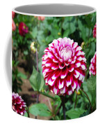 Maroon And White Flower Coffee Mug