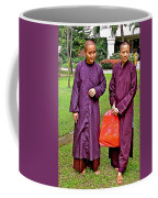 Maroon-robed Monks At Buddhist University In Chiang Mai-thailand Coffee Mug