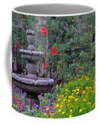 Garden Fountain And Flowers Coffee Mug