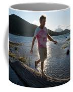 Mature Man Balances Along Log Coffee Mug