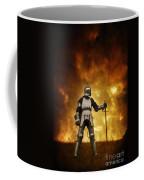 Medieval Knight In Armour On A Burning Battlefield Coffee Mug