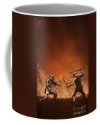 Medieval Knights In Armour Fighting With Swords Coffee Mug