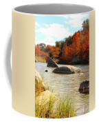 Fall Cypress At Bandera Falls On The Medina River Coffee Mug