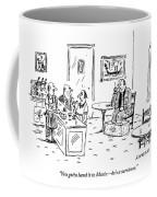 Men In A Restaurant Discuss A Patron Whose Feet Coffee Mug