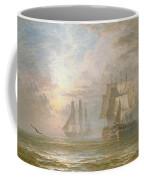 Men Of War At Anchor Coffee Mug by Henry Thomas Dawson
