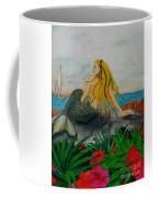 Mermaid Sailboat Flowers Cathy Peek Fantasy Art Coffee Mug