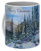 Merry Christmas - Winter Trees And Mountains Coffee Mug