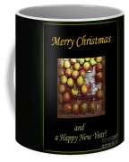 Merry Christmas And A Happy New Year - Little Gold Pears And Leaf - Holiday And Christmas Card Coffee Mug