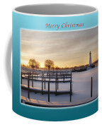 Merry Christmas Winter Marina And Lighthouse Coffee Mug
