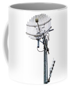 Metal Telecom Tower And Antennas Isolated On White Coffee Mug
