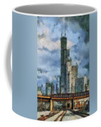 Metra Train View Sears Willis Tower Mixed Media 03 Coffee Mug