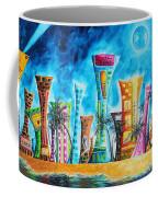 Miami City South Beach Original Painting Tropical Cityscape Art Miami Night Life By Madart Absolut X Coffee Mug