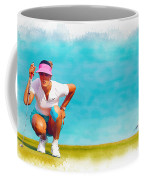 Michelle Wie Lines Up A Putt On The Eighth Green Coffee Mug
