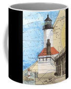 Michigan City Lighthouse In Nautical Chart Map Art Cathy Peek Coffee Mug