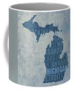 Michigan Great Lake State Word Art On Canvas Coffee Mug