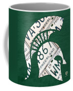 Michigan State Spartans Sports Retro Logo License Plate Fan Art Coffee Mug