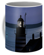 Midnight Moonlight On West Quoddy Head Lighthouse Coffee Mug
